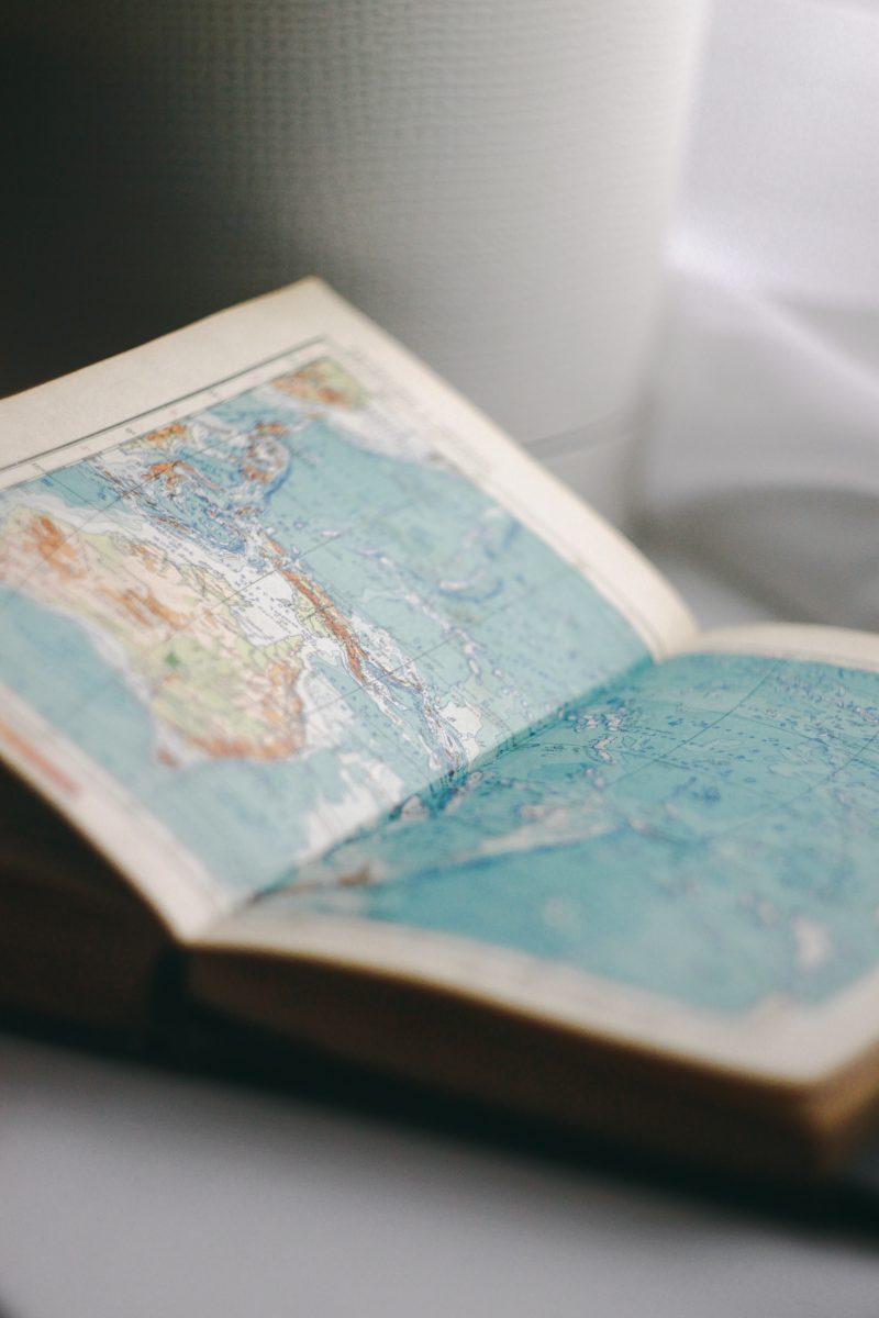 A blue map