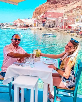 Best Restaurants in Santorini ⠀⠀⠀⠀⠀⠀⠀⠀⠀ Sunsets in Ammoudi is a lovely spot to enjoy the crystal clear water during the day and, true to its name, the stunning sunset views at night. Being in business over 30 years they've had some pretty famous celebrities come through! Check out their photos in between courses.  ⠀⠀⠀⠀⠀⠀⠀⠀⠀ Be sure to order the Santorini salad! It was our favorite on the island!  ⠀⠀⠀⠀⠀⠀⠀⠀⠀ Check out my latest blog for more Santorini recommendations!