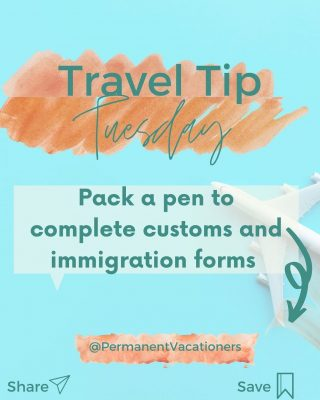 Don't get stuck in a line of passengers filling out your customs and immigration forms.  Have a pen handy in your carry-on so you have plenty of time to fill out forms before you hit the tarmac. Not to mention it will probably come in handy on your trip.  ⠀⠀⠀⠀⠀⠀⠀⠀⠀ What are some other items you always bring in your carry-on?