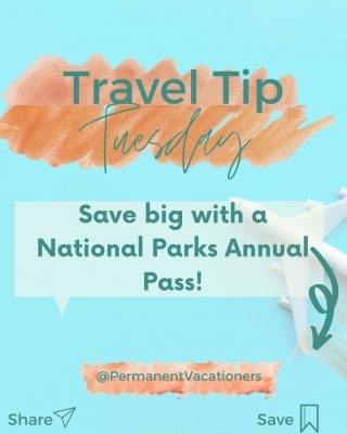 """STOP paying an entry fee at each US National Park!  If you're heading to more than one national park in a year, SAVE with an """"America The Beautiful"""" pass  ⠀⠀⠀⠀⠀⠀⠀⠀⠀  $80 covers unlimited entry all the parks in the US and is valid for an entire 12 months. Instead of paying $25-30 each time you enter, in 3 visits this pass will pay for itself.  ⠀⠀⠀⠀⠀⠀⠀⠀⠀ Annual passes can be obtained in person at park visitor centers and entrance stations, by calling 1-888-ASK USGS (1-888-275-8747) ⠀⠀⠀⠀⠀⠀⠀⠀⠀ Retiree or Military veterans? You could qualify for special discounts and passes! ⠀⠀⠀⠀⠀⠀⠀⠀⠀ What national parks will you visit first?"""