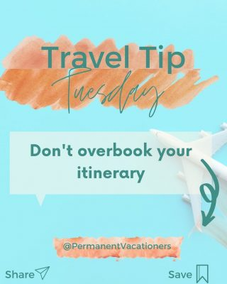 I know it's tempting to see everything on your trip, but overbooking an itinerary can be problematic ⠀⠀⠀⠀⠀⠀⠀⠀⠀ 1. You're stressing over seeing every little thing ⠀⠀⠀⠀⠀⠀⠀⠀⠀ 2. You're not leaving time for the unique experience that might cross your path ⠀⠀⠀⠀⠀⠀⠀⠀⠀ Here's how to avoid overbooking: ⠀⠀⠀⠀⠀⠀⠀⠀⠀ 1. Make a list of all the attractions your group would like to see ⠀⠀⠀⠀⠀⠀⠀⠀⠀ Narrow them to one main attraction or excusrion you would like to do for each day. Plan them for what works for your schedule. Some days you can plan two excusrions and another day you could have a relaxing, spontaneousday.  ⠀⠀⠀⠀⠀⠀⠀⠀⠀ ⠀⠀⠀⠀⠀⠀⠀⠀⠀ Build in time for the main excusion, time to get ready and time to relax afterwards ⠀⠀⠀⠀⠀⠀⠀⠀⠀ If you found this helpful, share and save!