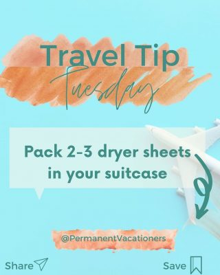 Several days in a suitcase can leave your clothes less than fresh. Pack a few dryer sheets into your luggage to make sure your clothes stay fresh between washes.  ⠀⠀⠀⠀⠀⠀⠀⠀⠀ Bonus - you can also use dryer sheets to reduce static on hair or clothes at your destination.